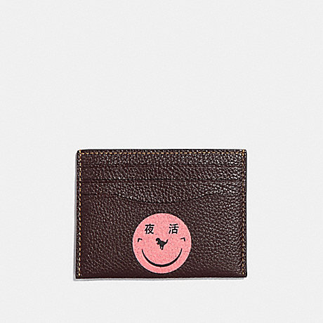 COACH CARD CASE WITH REXY BY YETI OUT - V5/OXBLOOD - F73947