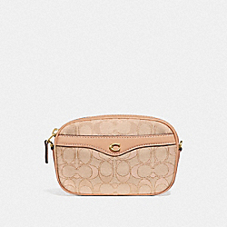 COACH F73953 - CONVERTIBLE BELT BAG IN SIGNATURE JACQUARD LIGHT KHAKI/BEECHWOOD/GOLD