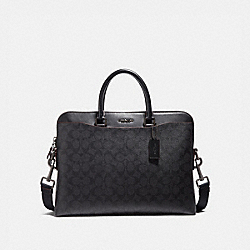 COACH F73970 Beckett Portfolio Brief In Signature Canvas BLACK/BLACK/OXBLOOD/BLACK COPPER FINISH