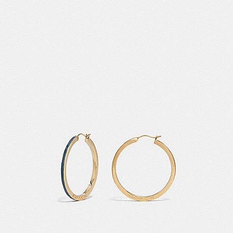 COACH F73973 HOOP EARRINGS INDIGO/GOLD