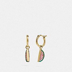 COACH F73976 Watermelon Huggie Earrings MULTI/GOLD