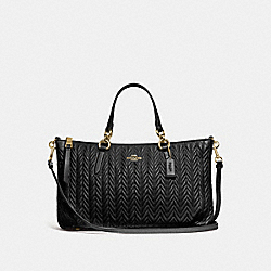 COACH F73978 Ally Satchel With Quilting BLACK/IMITATION GOLD
