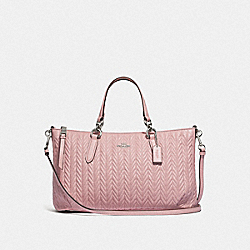 ALLY SATCHEL WITH QUILTING - F73978 - CARNATION/SILVER