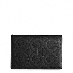 COACH F74178 Op Art Embossed Leather Slim Bifold Card Case BLACK