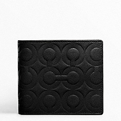 COACH F74179 Double Billfold Wallet In Op Art Embossed Leather BLACK