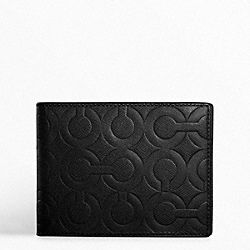 COACH F74180 Op Art Embossed Leather Passcase Id Wallet BLACK