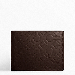 COACH F74180 Op Art Embossed Leather Passcase Id Wallet MAHOGANY