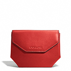 COACH BLEECKER LEATHER COIN CASE - TOMATO - F74297