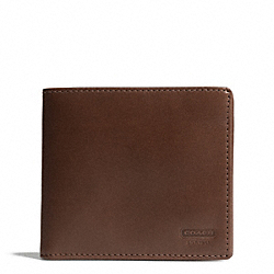 COACH F74395 Water Buffalo Double Billfold Id Wallet MAHOGANY