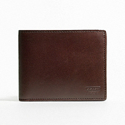 COACH F74396 Water Buffalo Double Billfold Wallet MAHOGANY