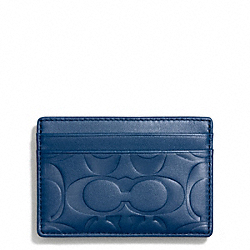 COACH F74418 Signature Embossed Money Clip Card Case MARINE, MARINA