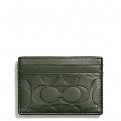 COACH F74418 Signature Embossed Money Clip Card Case OLIVE