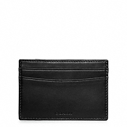 COACH F74422 Crosby Pieced Leather Card Case BLACK/AGED VACHETTA