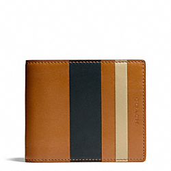 COACH F74493 Bleecker Debossed Painted Stripe Compact Id NATURAL/SHARKSKIN