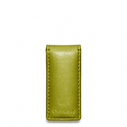 COACH F74498 Bleecker Legacy Leather Money Clip LIME/FAWN