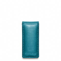 COACH F74498 Bleecker Legacy Leather Money Clip OCEAN/FAWN
