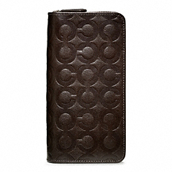 COACH F74520 - OP ART EMBOSSED LARGE GUSSET ACCORDION WALLET MAHOGANY