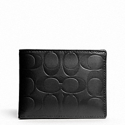 COACH F74527 Signature Embossed Passcase Id Wallet BLACK