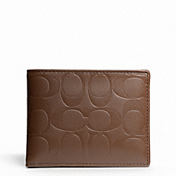 COACH F74527 Signature Embossed Passcase Id Wallet TOBACCO