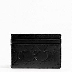 COACH F74530 Signature Embossed Slim Card Case BLACK