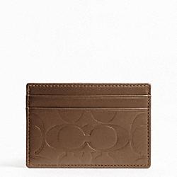 COACH F74530 Signature Embossed Slim Card Case TOBACCO