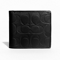 COACH F74531 Signature Embossed Coin Wallet BLACK
