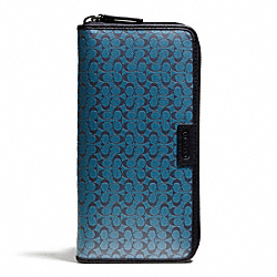 COACH F74546 Heritage Signature Embossed Pvc Accordion Wallet NAVY/STORM BLUE