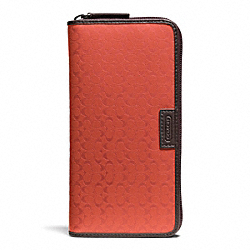 COACH F74546 Heritage Signature Embossed Pvc Accordion Wallet PAPAYA