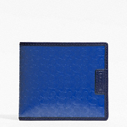COACH F74549 Heritage Signature Embossed Pvc Double Billfold BLUE