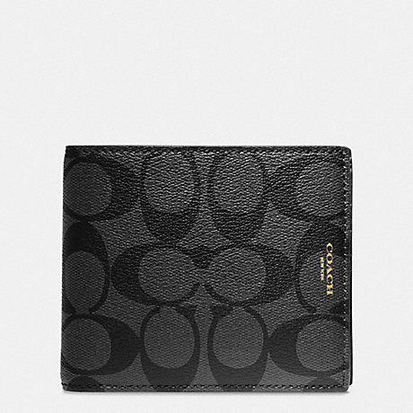 COACH f74586 BLEECKER COMPACT ID WALLET IN SIGNATURE COATED CANVAS BLACK/CHARCOAL
