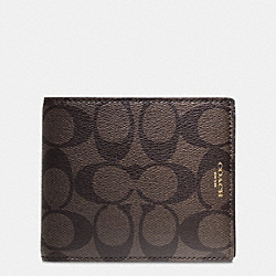 COACH F74586 Bleecker Compact Id Wallet In Signature Coated Canvas MAHOGANY/BROWN