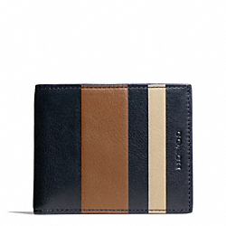COACH F74593 Bleecker Debossed Stripe Slim Billfold Id NAVY/FAWN