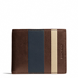 COACH F74593 Bleecker Debossed Stripe Slim Billfold Id MAHOGANY/NAVY