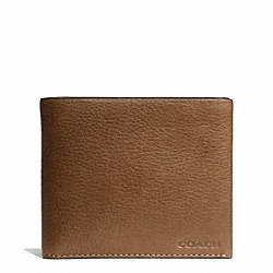 COACH F74595 Bleecker Pebbled Leather Double Billfold Wallet SADDLE