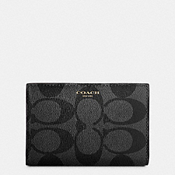 COACH BLEECKER SLIM BIFOLD CARD CASE IN SIGNATURE COATED CANVAS - BLACK/CHARCOAL - F74600