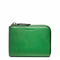 COACH F74624 Bleecker Pebbled Leather Half Zip Wallet