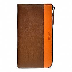 COACH F74626 Bleecker Leather Large Half Zip Wallet FAWN/BONFIRE