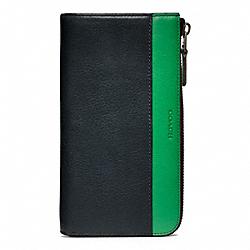 COACH F74626 Bleecker Leather Large Half Zip Wallet NAVY/CLOVER