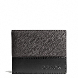 COACH F74638 Camden Leather Slim Billfold Wallet SLATE/BLACK