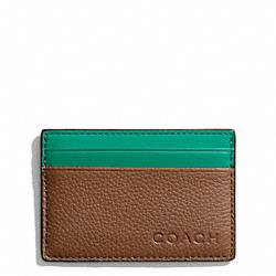 COACH F74640 Camden Leather Slim Card Case SADDLE/EMERALD
