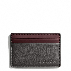COACH F74640 Camden Leather Slim Card Case DARK GREY/DARK RED