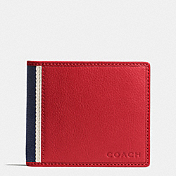 COACH F74688 - HERITAGE WEB LEATHER COMPACT ID WALLET RED/NAVY