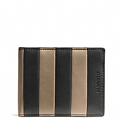 COACH F74720 Bleecker Bar Stripe Leather Slim Billfold Id Wallet GRANITE/HAYSTACK