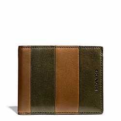 COACH F74720 Bleecker Bar Stripe Leather Slim Billfold Id Wallet DOE/DARK OLIGHT GOLDVE