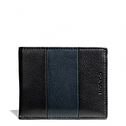 COACH F74720 Bleecker Bar Stripe Leather Slim Billfold Id Wallet NAVY/BLACK