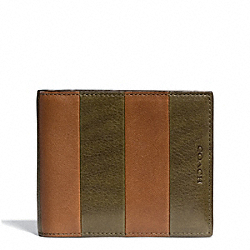 COACH F74723 Bleecker Bar Stripe Leather Compact Id Wallet