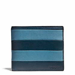 COACH F74723 Bleecker Bar Stripe Leather Compact Id Wallet CADET/DARK ROYAL