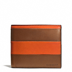 COACH F74723 Bleecker Bar Stripe Leather Compact Id Wallet SAMBA/FAWN