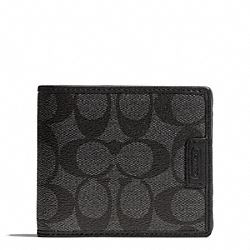COACH HERITAGE SIGNATURE COMPACT ID WALLET - CHARCOAL/BLACK - F74736