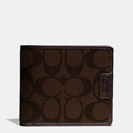 mens coach wallet outlet xzzz  COACH f74736 HERITAGE SIGNATURE COMPACT ID WALLET MAHOGANY/BROWN